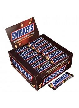 Батончик шоколадный Snickers, 50,5г. х 48шт., флоу пак, Марс, Россия, (КОД 35885), (+18°С)