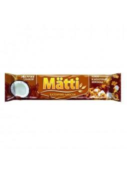 Батончик мюсли кокос и молочный шоколад, 24г. х 36шт., флоу пак, Matti, Россия, (КОД 62354), (+18°С)