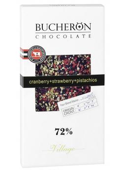 BUCHERON Шоколад горький с клюквой, клубникой и фисташками 72% какао 100г