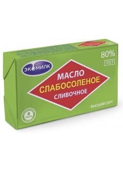 Масло слабосоленое, сливочное ЭКОМИЛК 80% 180 г