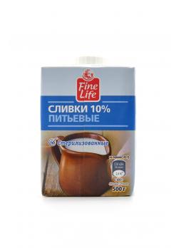 Fine Life Сливки ультрапастеризованные 10%, 500г БЗМЖ