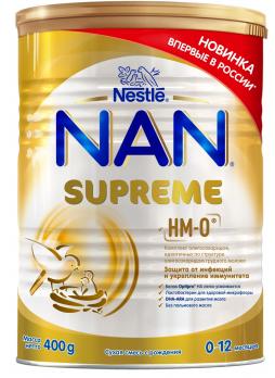 NAN Supreme Сухая смесь на основе частично гидролизованного белка молочной сыворотки для питания детей с рождения до года, 400 г