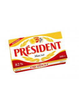 Масло President кислосливочное несоленое 82% 360 г