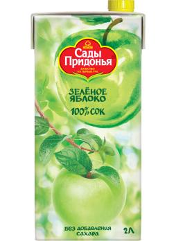 Cок Сады Придонья яблочный из зеленых яблок осветленный восстановленный 2л