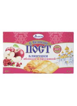 Блинчики В ВЕЛИКИЙ ПОСТ Талосто с яблоком и брусникой, 420г
