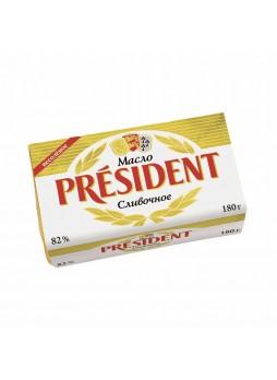 """Масло 82% 0,180кг кислосливочное несоленое, в/с, """"President"""", Беларусь (КОД 24462) (О°С)"""
