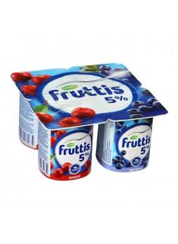 Йогуртный продукт с черникой вишней 5% БЗМЖ 115гр  х 4шт стакан Fruttis Россия (КОД 81042) (+18°С)