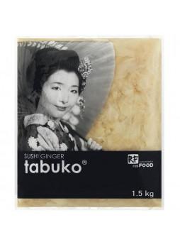 Имбирь маринованный белый 1,5кг(осн.пр.1,1кг) пакет х10 Tabuko™ Китай (КОД 45634) (+18°С)