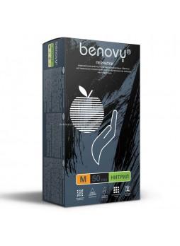 Перчатки нитриловые смотровые, размер M, 100 шт/уп (черные) Benovy® Малайзия(10%)(КОД 36102) (+18°С)