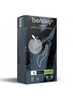 Перчатки нитриловые смотровые, размер S, 100шт/уп (черные) Benovy® Малайзия (КОД 36873) (+18°С)