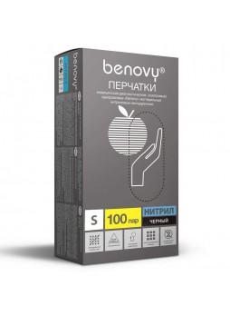 Перчатки нитриловые смотровые, размер S, 200 шт/уп (черные) Benovy® Малайзия(10%)(КОД 40706) (+18°С)